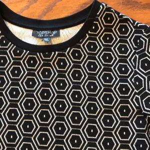 Topshop black white hexigon knit top size 4